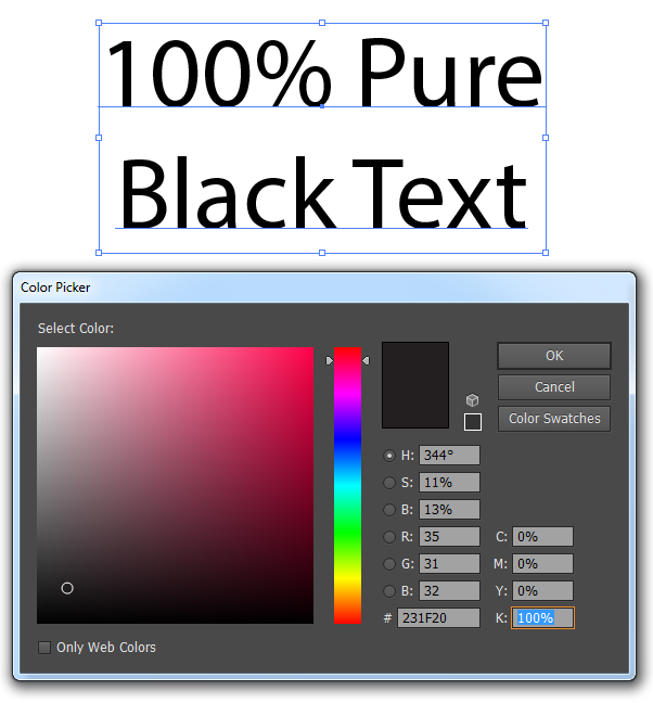 Above Is An Example Of The Color Picker Tool In Illustrator Highlighting A Selection 1 Black Text Note How K Or 100 And Other 3